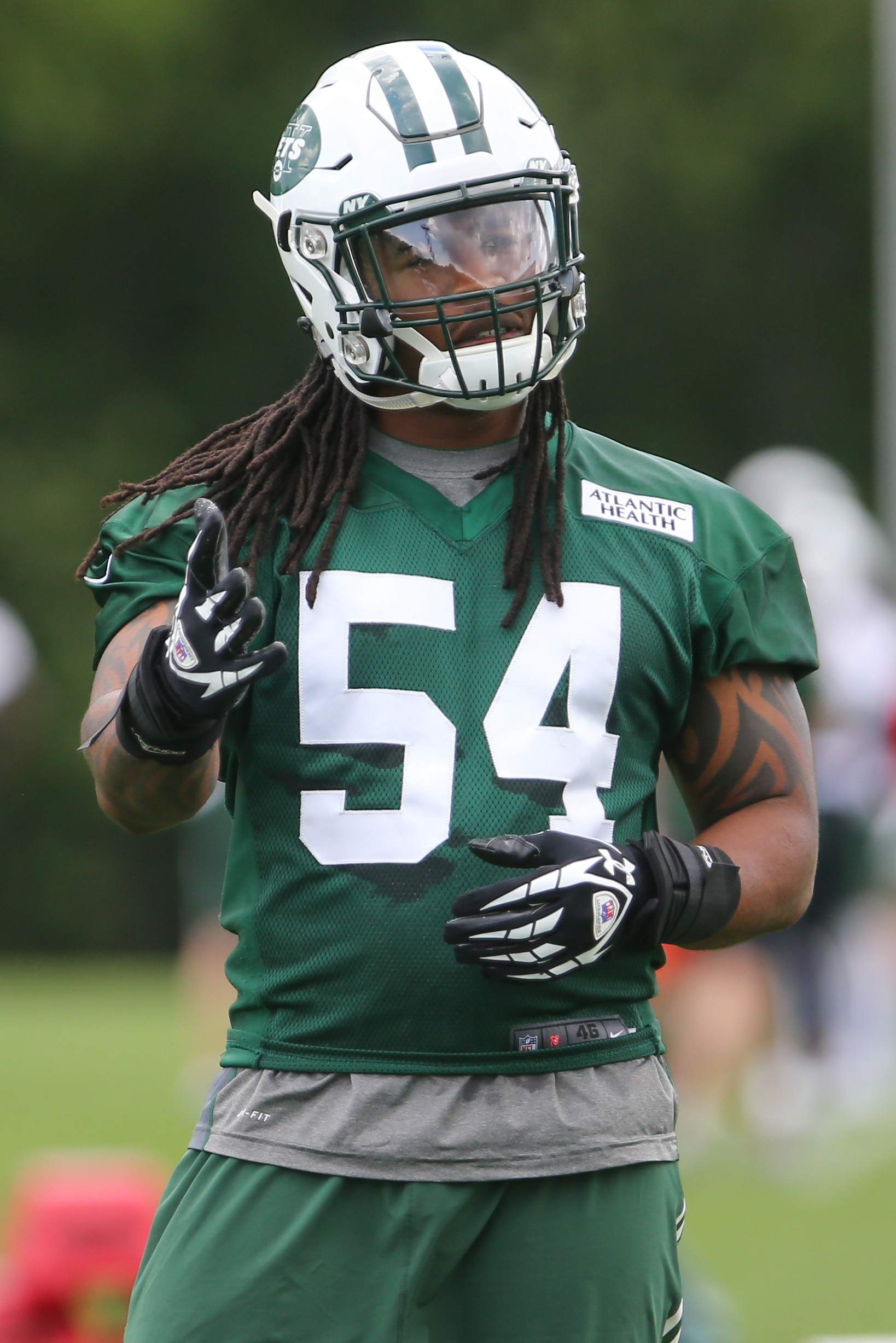 Jun 9, 2015; Florham Park, NJ, USA; New York Jets linebacker Jamari Lattimore (54) during New York Jets minicamp at Atlantic Health Jets Training Center. Mandatory Credit: Ed Mulholland-USA TODAY Sports